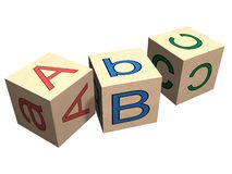 ABC. Wooden alphabet blocks. High quality 3D rendering Royalty Free Stock Photos