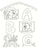 ABC. Hand-made black and white illustration of cute animals. They are looking at three big letters: ABC. It is an illustration suitable for scholastic range Stock Image