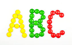 ABC. The letters ABC spelled with candy Royalty Free Stock Photography