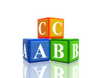 Abc. 3d colorful cubes with letters abc stock illustration