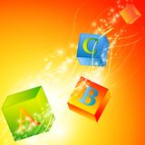 Abc. Multicolored abc cubes over magic background royalty free illustration