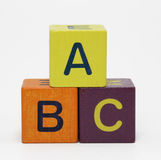 Abc. Wooden blocks with letters on white background Royalty Free Stock Images