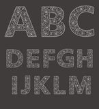 ABC. Vector set of white lace fonts Stock Image