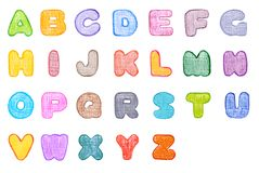 ABC. Alphabet canvas textured font, made with wax crayons over white background. Every letter in different colour royalty free illustration