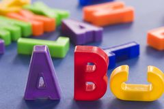 Abc. Plastic colored letters with some out of focus in the background Stock Photo