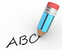 Abc. A pencil and ABC. 3d render Stock Illustration