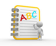 ABC. 3d people - man, person pointing a notebook. ABC Royalty Free Stock Photo