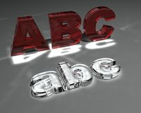 Abc. 3d rendered illustration of glass with the letters abc Stock Photo