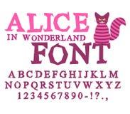妙境字体的阿丽斯 神仙ABC 疯狂的字母表彻斯特猫 库存照片