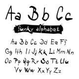 ABC - abc Funky Vector Zwart Hand Geschreven Alfabet stock illustratie