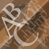 ABC Abstract Background. Illustration with scattered letters of the alphabet of wavy brown background Royalty Free Stock Images