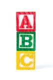 abc - Alfabetet behandla som ett barn kvarter på vit Royaltyfri Fotografi
