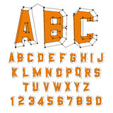 abc-alfabetet letters det mekaniska setschemat illustration 3d bakgrundsdesignelement fyra vita snowflakes Arkivbild