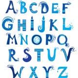 ABC. Alfabeto da água. vetor. Fotos de Stock