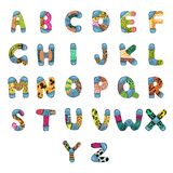 ABC Alphabet. Illustration of set of abc alphabet with retro pattern Royalty Free Stock Photography