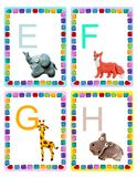 ABC alphabet baby animals flash educational cards poster