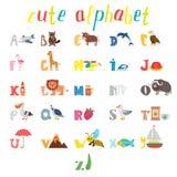 ABC Alphabet d'enfants avec les animaux mignons de bande dessinée et autre drôle Photographie stock libre de droits