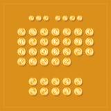 ABC alphabet. Golden coins on orange background. Royalty Free Stock Photography