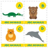 ABC alphabet for kids. Set of funny Alligator Bear cat dolphin cartoon animals character. Cards for the game. Zoo isolated on whit. E background. Learn to read vector illustration