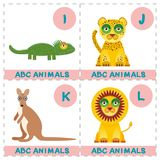 ABC alphabet for kids. Set of funny lion kangaroo iguana jaguar cartoon animals character. Cards for the game. Zoo isolated on whi. Te background. Learn to read stock illustration