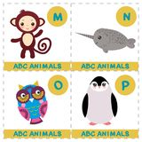 ABC alphabet for kids. Set of funny narwhal owl monkey penguin cartoon animals character. Cards for the game. Zoo isolated on whit. E background. Learn to read royalty free illustration