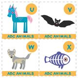 ABC alphabet for kids. Set of funny X-ray fish wolf bat unicorn cartoon animals character. Cards for the game. Zoo isolated on whi. Te background. Learn to read stock illustration