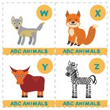 ABC alphabet for kids. Set of funny wolf yak fox zebra cartoon animals character. Cards for the game. Zoo isolated on white backgr. Ound. Learn to read. Vector royalty free illustration