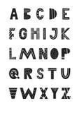 ABC - Alphabet latin Affiche tirée par la main unique de crèche avec les lettres tirées par la main dans le style scandinave Photos stock