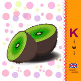 ABC. Alphabet. The letter K Sliced kiwi. Bright green fruit. Exotic food. English alphabet. Illustration of a ripe kiwi. Food Vector Image Stock Images