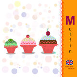 ABC. Alphabet. The letter M Sliced muffin. Fresh bakery. English alphabet. Illustration of a fruit muffins. Food Vector Image Stock Illustration