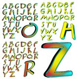 ABC Alphabet lettering design Aberration combo. Alphabet characters sets arranged by style Royalty Free Illustration