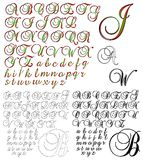 ABC Alphabet lettering design Brock 1 combo. Alphabet characters sets arranged by style Vector Illustration