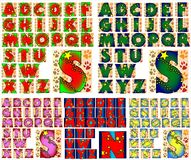 ABC Alphabet lettering design. Alphabet characters sets arranged by style stock illustration