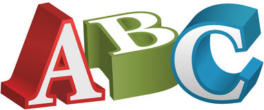 ABC font alphabet teaching letters. ABC alphabet letters as elementary red green blue 3D objects Stock Photos