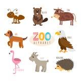 ABC Alphabet mignon de zoo dans le vecteur Animaux drôles de bande dessinée La fourmi, soit Photos stock