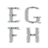 ABC alphabet symbols made of coins. ABC alphabet symbols made of silver coins isolated on white Stock Images