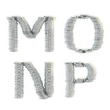 ABC alphabet symbols made of coins. ABC alphabet symbols made of silver coins isolated on white Royalty Free Stock Photos