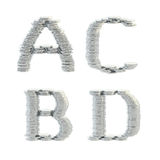 ABC alphabet symbols made of coins. ABC alphabet symbols made of silver coins isolated on white Royalty Free Stock Photography