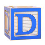 ABC Alphabet Wooden Block with D letter. 3D rendering stock illustration