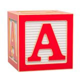 ABC Alphabet Wooden Block with A letter. 3D rendering. Isolated on white background stock illustration