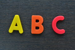 ABC Alphabets (Wooden Texture Background) Royalty Free Stock Image