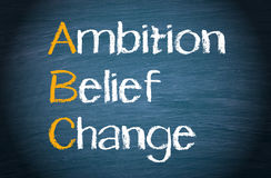 ABC - Ambition Belief Change. Text on blue background Royalty Free Stock Image