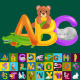 Abc animal letters for school or kindergarten children alphabet education isolated. Letters ABC for children alphabet learning book. ABC concept with animal vector illustration