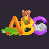 Abc animal letters for school or kindergarten children alphabet education. Letters ABC for children alphabet learning book. ABC concept with animal toy for Royalty Free Stock Image