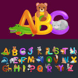 Abc animal letters for school or kindergarten children alphabet education. Letters ABC for children alphabet learning book. ABC concept with animal toy for stock illustration