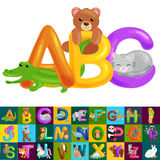 Abc animal letters for school or kindergarten children alphabet education. Letters ABC for children alphabet learning book. ABC concept with animal toy for vector illustration