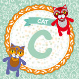 ABC animals C is cat. Childrens english alphabet. Vector Royalty Free Stock Photography