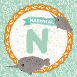 ABC animals N is narwhal. Childrens english alphabet. Vector. Illustration Royalty Free Stock Photo