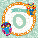 ABC animals: O is owl. Childrens english alphabet. Vector Royalty Free Stock Photos