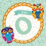 ABC animals: O is owl. Childrens english alphabet. Vector Royalty Free Stock Photos